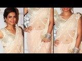 Slim & Sexy Karishma Tanna Looking Hotter In Trancy Saree
