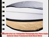 StudioPRO 32in 5 in 1 Collapsible Photography Disc Photo Studio Reflector Silver/Translucent/Gold/Black/White