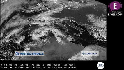 Vue Espace - N&B - Europe - Satellite METEOSAT10 (REPLAY)