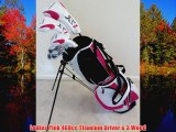 Ladies RH Complete Golf Club Set Driver Fairway Wood Hybrid Irons Putter Stand Bag Womens Right Handed White and Pink Co