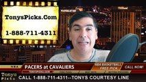 Cleveland Cavaliers vs. Indiana Pacers Free Pick Prediction NBA Pro Basketball Odds Preview 3-20-2015