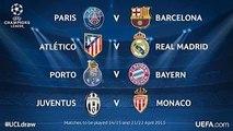 Sorteo Champions League 2015 (Cuartos de Final)_ PSG vs Barça y Atlético de Madrid vs Real Madrid