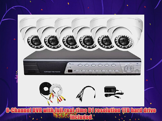 iPower Security SCCMBO00051T 8 Channel 1TB HDD Full D1 DVR Security Surveillance System with 6 850TVL Cameras