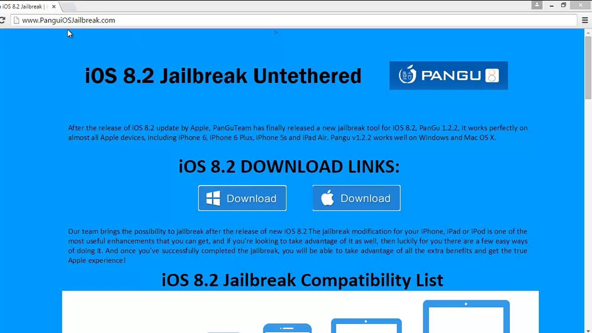 Download pangu ios 8 2 Jailbreak UNTETHERED for Mac & Windows