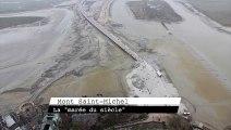 Revivez la marée du siècle, encerclant le Mont Saint-Michel