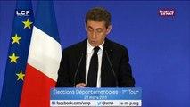"""Nicolas Sarkozy : """"L'UMP n'appellera à voter ni pour le front national avec lequel nous n'avons rien en commun, ni pour les candidats de gauche dont nous combattons la politique."""""""