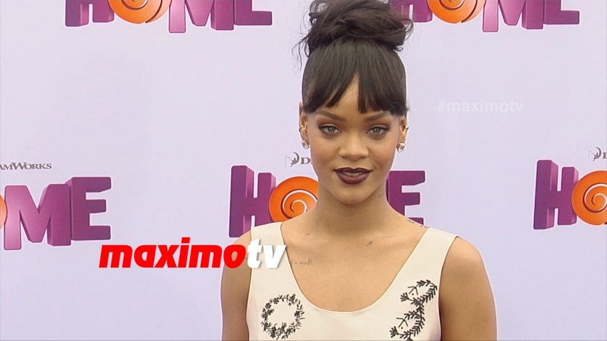 RIHANNA GORGEOUS IN PINK SATIN DRESS REVEALING HER TATTOOS HOME PREMIERE IN LA