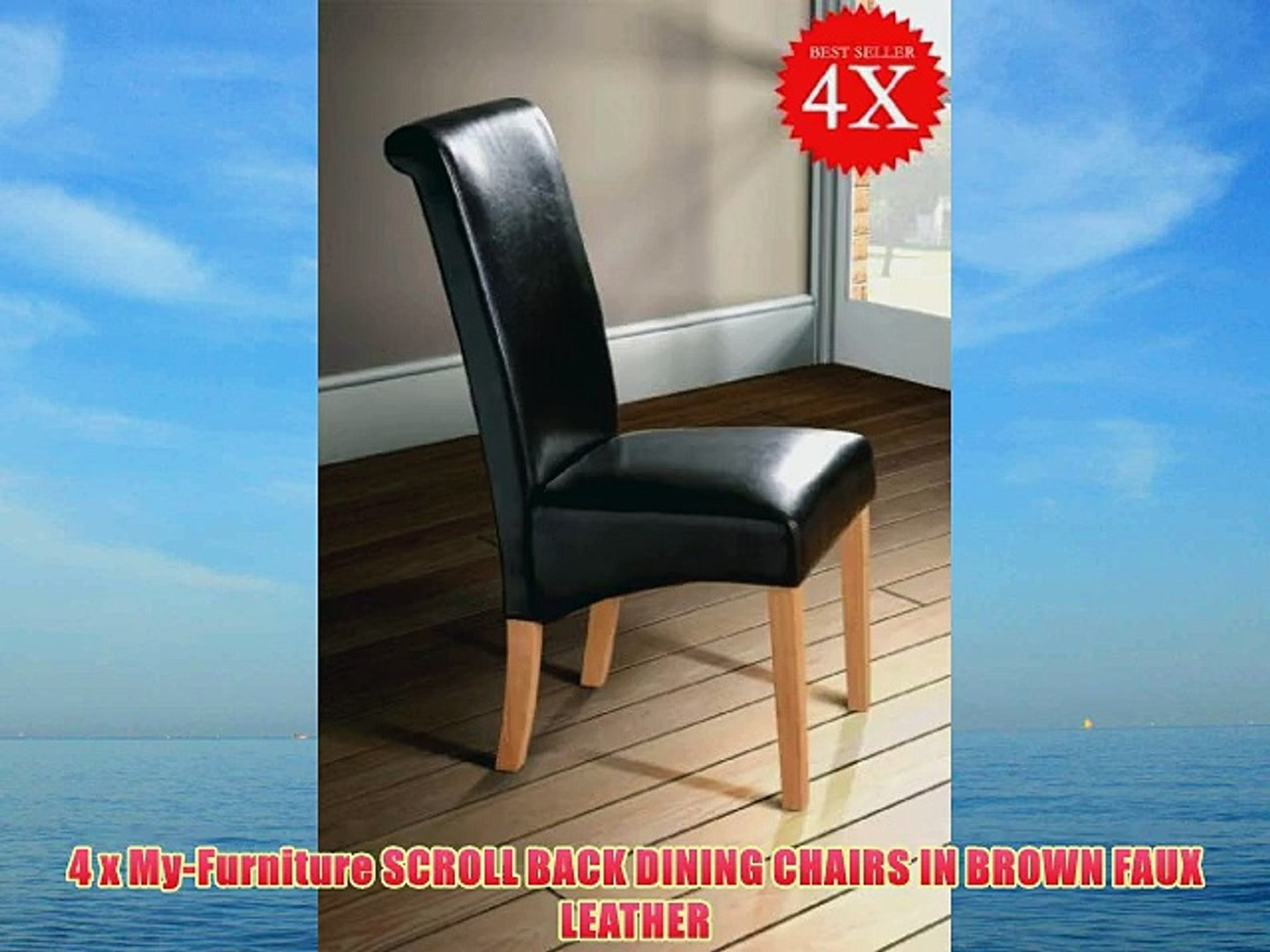 Magnificent Milano Scroll Back Faux Leather Dining Room Chair Brown X4 Pabps2019 Chair Design Images Pabps2019Com