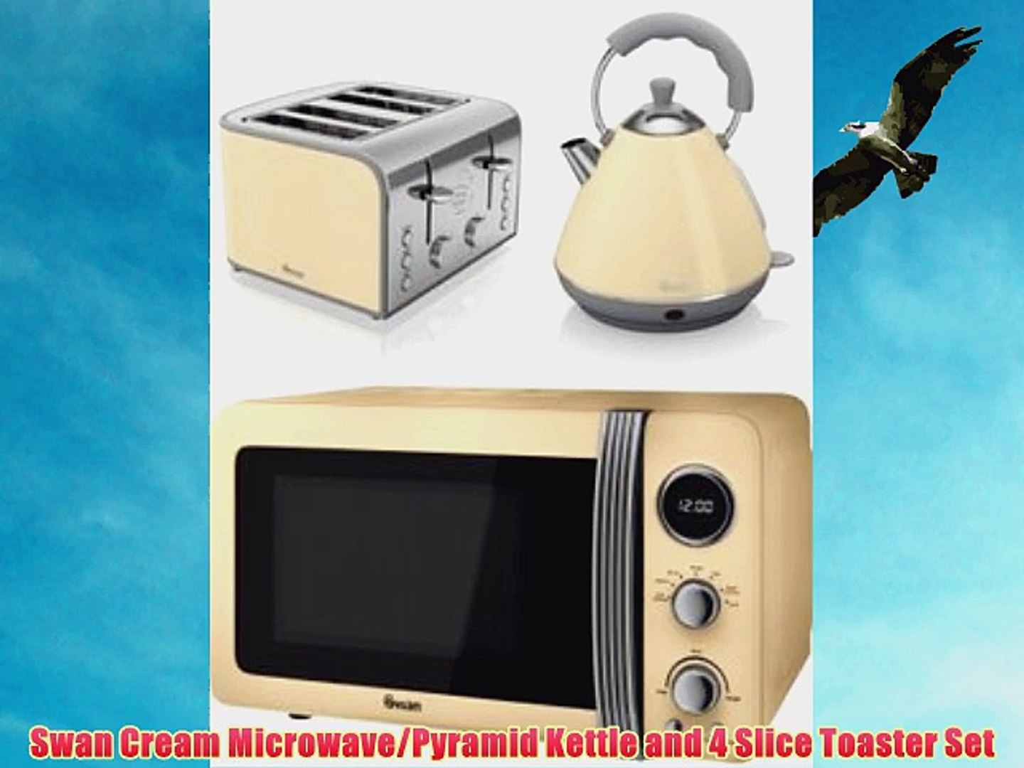 Swan Cream Microwave Pyramid Kettle And