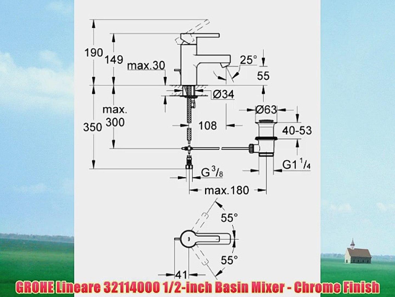 GROHE Lineare 32114000 1/2-inch Basin Mixer - Chrome Finish
