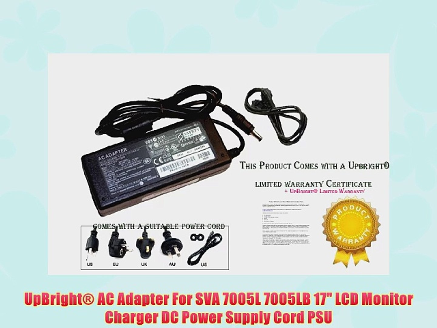 UpBright? AC Adapter For SVA 7005L 7005LB 17 LCD Monitor Charger DC Power Supply Cord PSU