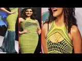 Hot Sonam Kapoor In Netted Yellow Dress Exposing Black Bra