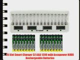 16 Slot Smart Charger 32 AAA 1200 mAh Accupower NiMH Rechargeable Batteries