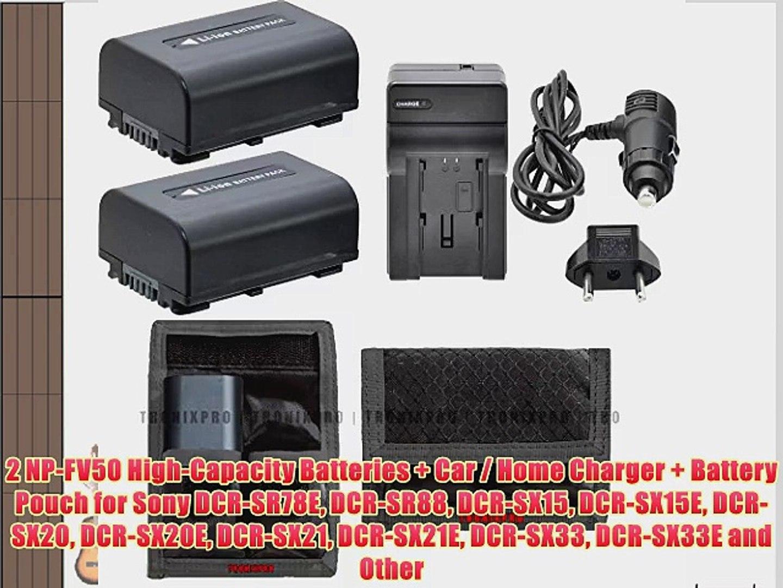 2 NP-FV50 High-Capacity Batteries   Car / Home Charger   Battery Pouch for Sony DCR-SR78E DCR-SR88