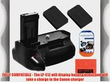 Battery Grip Kit for Canon Rebel SL1 EOS 100D Digital SLR Camera Includes Qty 2 Replacement