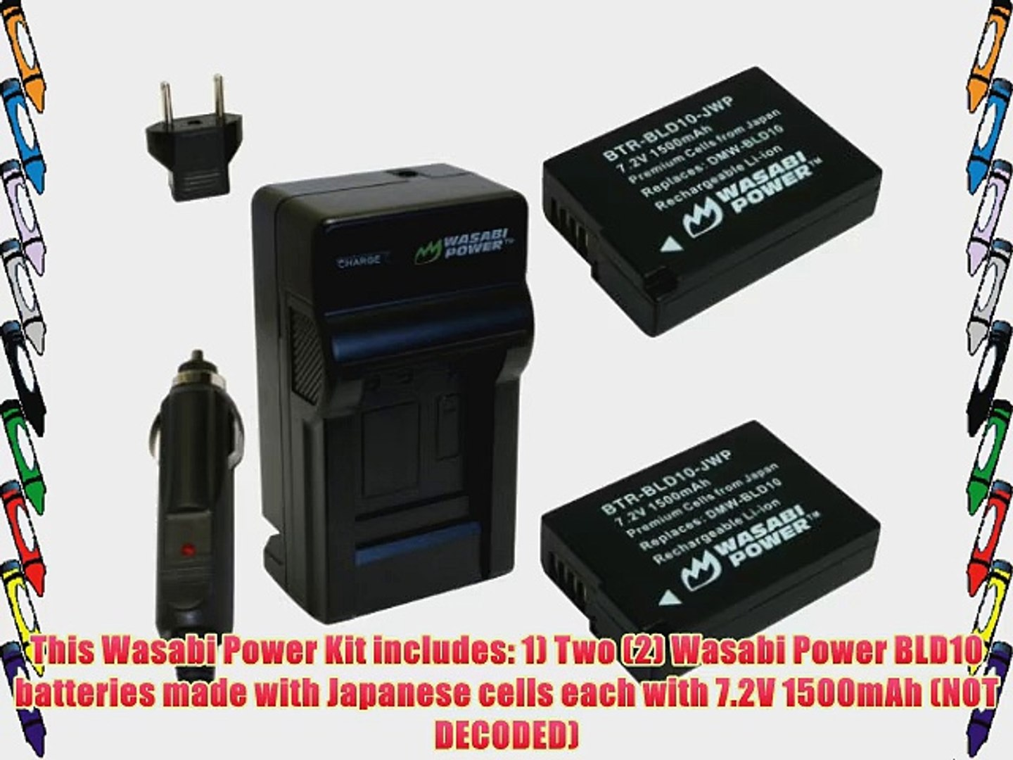 2-Pack Wasabi Power Battery and Charger for Panasonic DMW-BCM13