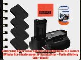 Battery Grip Kit for Canon Rebel SL1 EOS 100D Digital SLR Camera Includes Qty 4 Replacement