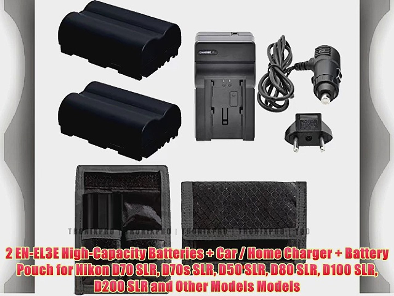 2 EN-EL3E High-Capacity Batteries   Car / Home Charger   Battery Pouch for Nikon D70 SLR D70s