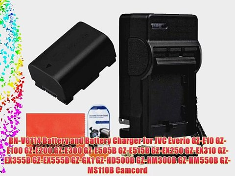 BN-VG114 Battery and Battery Charger for JVC Everio GZ-E10 GZ-E100 GZ-E200 GZ-E300 GZ-E505B GZ-E515B GZ-EX250 GZ-EX310 GZ-EX355B GZ-EX555B GZ-GX1 GZ-HD500B GZ-HM300B GZ-HM550B GZ-MS110B Camcorder