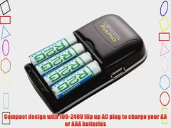 4 Hour AA AAA AC DC Battery Charger with USB Output IncludeS