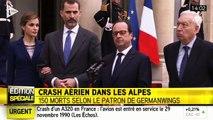 Crash dans les Alpes : Hollande aux côté du roi d'Espagne Felipe VI