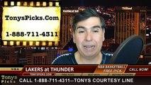 Oklahoma City Thunder vs. LA Lakers Free Pick Prediction NBA Pro Basketball Odds Preview 3-24-2015