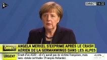 """""""C'est un choc pour nous"""", Angela Merkel, au sujet du crash de l'A320 (ITélé)"""