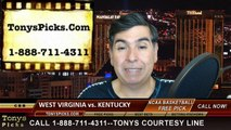 Kentucky Wildcats vs. West Virginia Mountaineers Pick Prediction NCAA Tournament College Basketball Odds Preview 3-26-2015