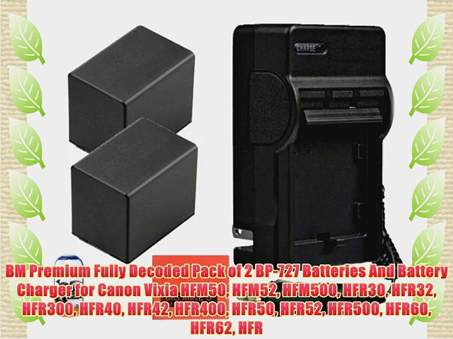 BM Premium Fully Decoded Pack of 2 BP-727 Batteries And Battery Charger for Canon Vixia HFM50