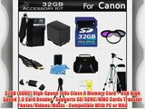 32GB Accessory Kit For Canon VIXIA HF G10 HF G20 Camcorder Includes 32GB High Speed SD Memory