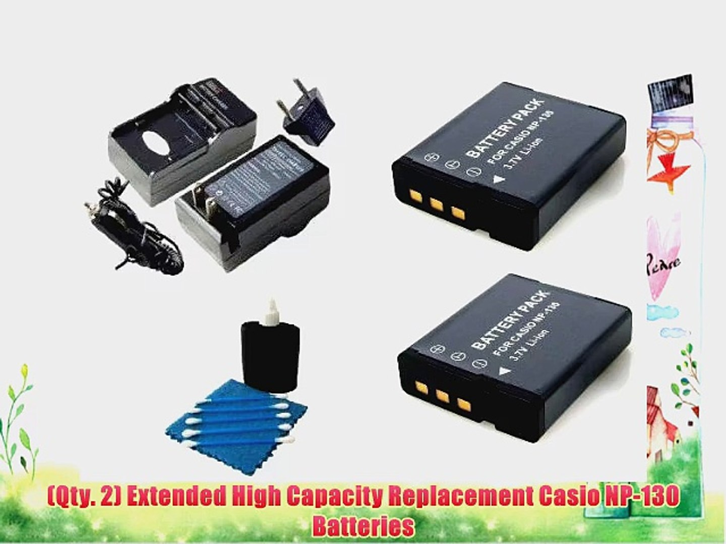 SaveOn 2 Pack Battery and Charger Kit includes Two High Capacity Replacement Casio NP-130 Batteries