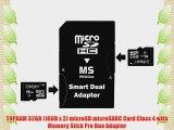 TOPRAM 32GB (16GB x 2) microSD microSDHC Card Class 4 with Memory Stick Pro Duo Adapter