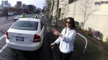 Elle gare sa voiture en plein sur une piste cyclable et insulte le cycliste qui lui dit de bouger!