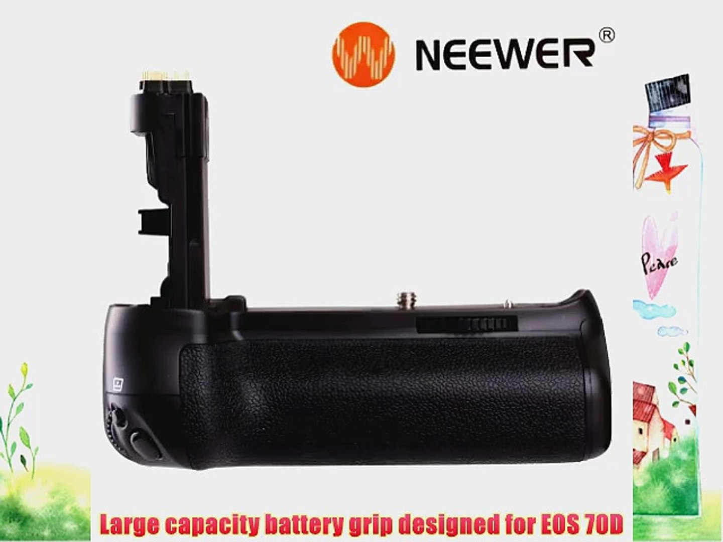 NEEWER BG-70D Battery Grip for EOS 70D Digital SLR Camera with 2 LE-P6 Batteries