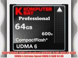 KOMPUTERBAY 64GB Professional COMPACT FLASH CARD CF 600X 90MB/s Extreme Speed UDMA 6 RAW 64