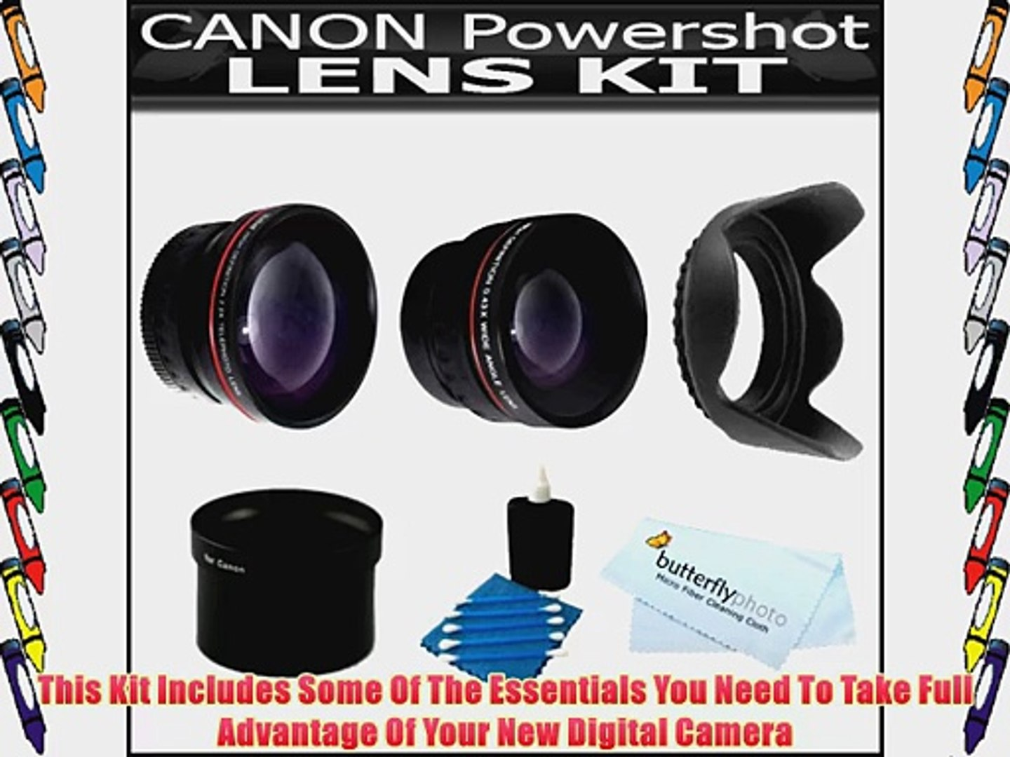 iConcepts 2.0x High Definition Telephoto Conversion Lens for Canon Powershot A650 IS Includes Lens Adapter