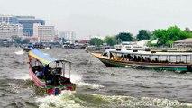 Boats of the Chao Phraya River, Accelerated Video. Bangkok, Thailand