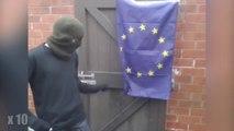 Il a beaucoup de mal à brûler le drapeau européen : il a bien fait rire les internautes
