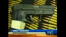 Armas y municiones incautadas durante operativos serán destruidas