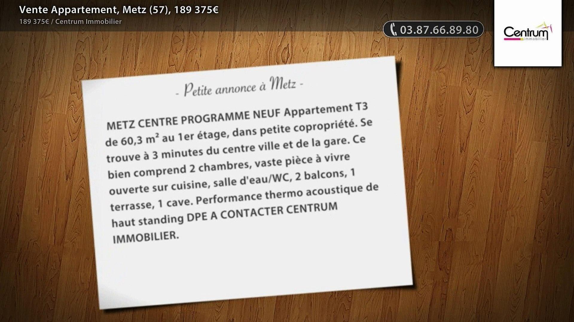 Vente Appartement, Metz (57), 189 375€