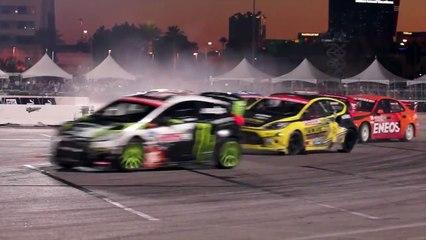 [HOONIGAN] Race Car on Fire Ken Block #AINTCARE, Presses on During Rally-X Race. (HD)