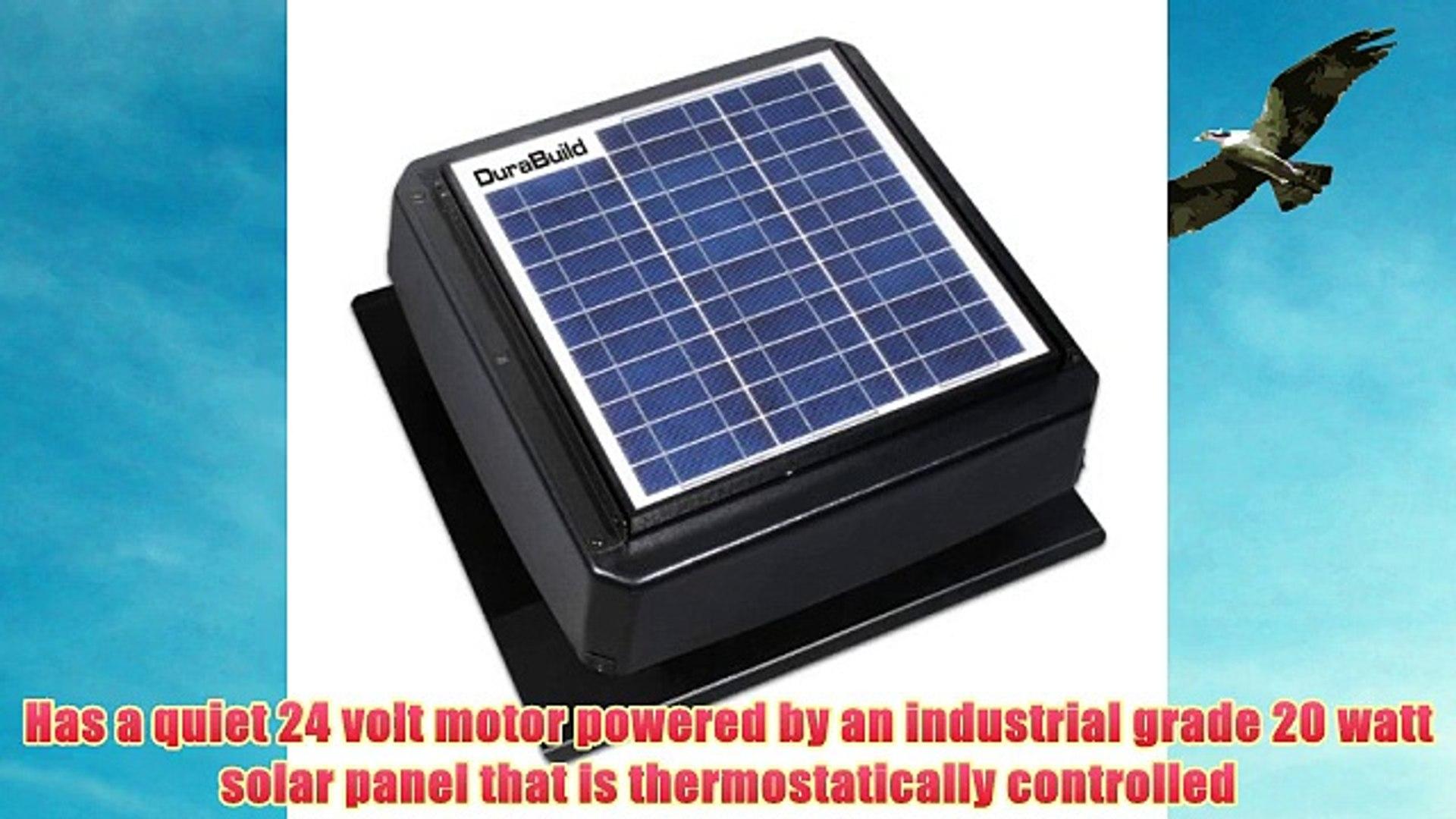 Durabuild 527S-DUB-106-BLK Roof Mount Solar Powered Attic Fan 20-watt