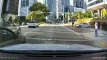 car accident on Brickell ave Miami Downtown April 2nd 2015