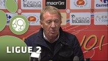 Conférence de presse GFC Ajaccio - Stade Brestois 29 (1-1) : Thierry LAUREY (GFCA) - Alex  DUPONT (SB29) - 2014/2015