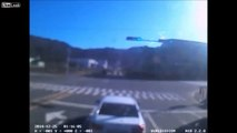 LiveLeak - Close call for car when two trucks collide at intersection