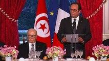 Toast lors du dîner d'État avec le président tunisien, M. Béji CaÏd Essebsi