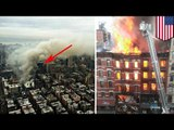 New York building explodes, goes up in flames as another collapses, injuring at least a dozen people