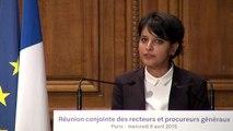[ARCHIVE] Réunion conjointe des recteurs et des procureurs généraux : Allocution de Najat Vallaud-Belkacem