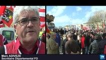 Manifestation contre la politique d'austérité du gouvernement, ce jeudi dans les rues de Carcassonne :