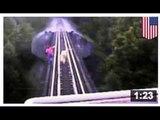 VIDEO FACE À LA MORT: Deux femmes courent devant un train et sur un pont … ensuite…